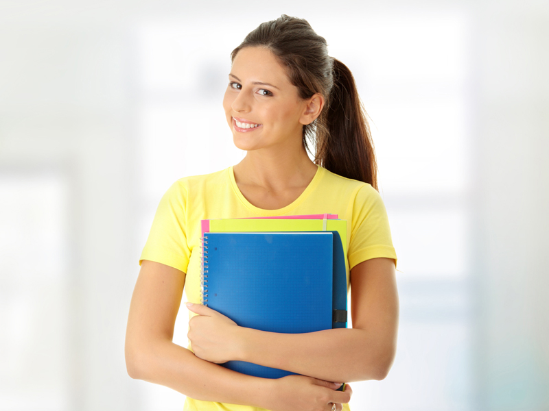 Student with books (English)