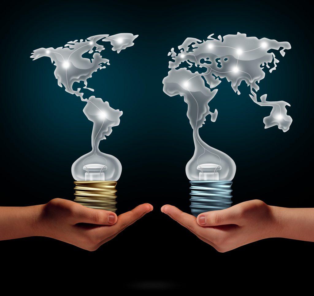 hands, light bulbs showing the world (english)